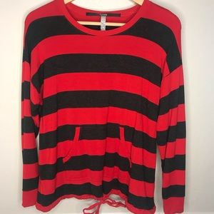 Kensie Women's Long sleeves Red gray striped top